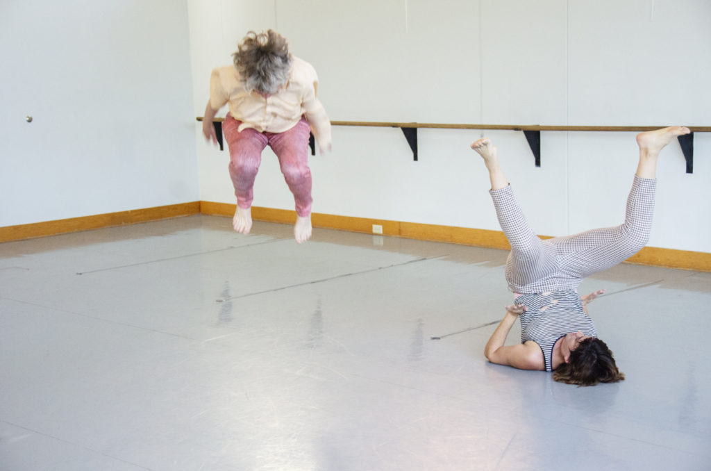 Photo by Elliot Emadian: Jennifer Monson and nibia pastrana santiago in a residency for Choreographies of Disaster, Urbana, IL, Apr 2019