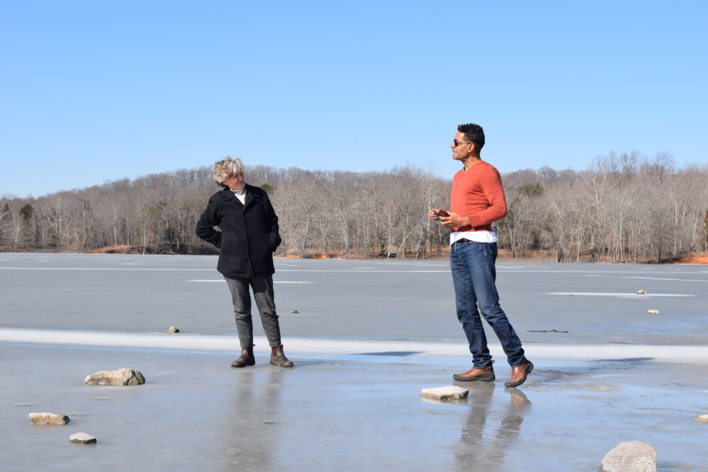 Photo by : Jennifer Monson and Javier Cardona in a residency for Choreographies of Disaster, Lake Monroe, IN, February 2019