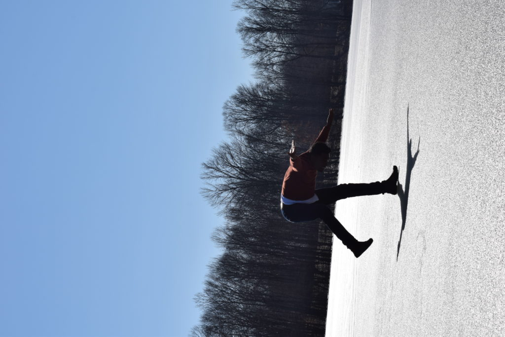 Photo by : Javier Cardona in a residency for Choreographies of Disaster, Lake Monroe, IN, February 2019