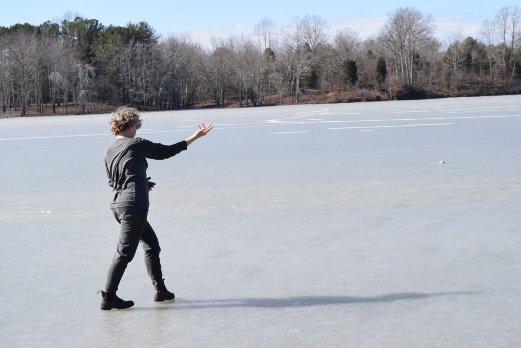 Photo by : Jennifer Monson in a residency for Choreographies of Disaster, Lake Monroe, IN, February 2019