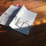 Photo courtesy Carolyn Hall: the Field Guide half in shadow, folded in half on wooden surface