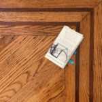 """Photo by Carolyn Hall: The """"Field Guide"""" placed in the corner of a hardwood floor at the corner of a border"""