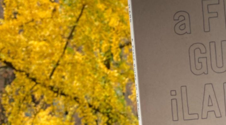 Photo by Carolyn Hall: The left half of the field guide in front of some yellow fall foliage