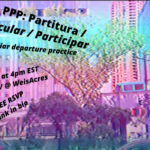 """background screenshot of short work by ocean williams: blue- and pink-tinted filter on background of NYC skyline, including the tops of two cars, trees, a highway overpass, and taller buildings. In black sans-serif font, """"PPP: Partitura / Particular / Participar: peculiar departure practice"""" and """"Sept 18 at 5pm EST on zoom / @ WeisAcres / FREE RSVP / link in bio"""" slanted overlaid atop text"""
