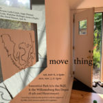 """A door is partially open, letting sunlight in and giving the viewer a peek into a garden. On the left of the door is a large window with an abstract drawing pasted on top and similiar digital drawing patterns overlaid around the window frame. In between the door and the window are informational texts about """"move thing"""" showing on Nov 6-7 in Williamsburg, NY."""